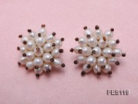 10mm White Rice-shaped Cultured Freshwater Pearl Clip-on Earrings