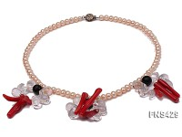 Natural Pink Freshwater Pearl Necklace with Natural White Crystal Agate and Coral