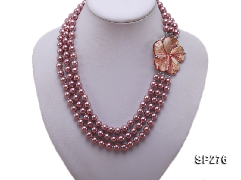 8mm round lavender seashell pearl three-strand necklace