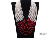 13 strand white freshwater pearl and round red coral necklace