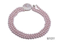 8mm round pink seashell pearl three-strand necklace