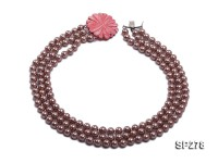 8mm round brown seashell pearl three-strand necklace