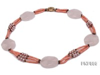Pink Coral with Rose Quartz and Freshwater Pearl Necklace