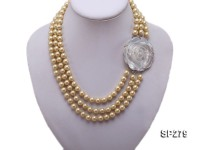 8mm round golden seashell pearl three-strand necklace