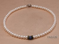 7-8mm natural white flat freshwater pearl single strand necklace with lapis beads