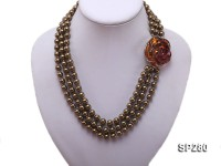 8mm chocolate round the south seashell pearl three-strand necklace