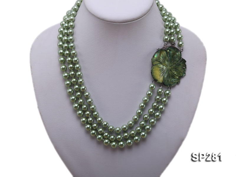 8mm green round seashell pearl three-strand necklace