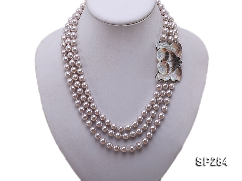 8mm light pink round shell pearl three-strand necklace