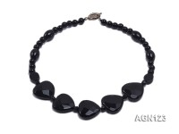 7.5-25mm black round and heart shape  faceted agate necklace