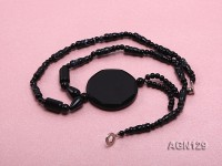4-40mm black several shape agate necklace