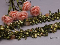 Three-strand Green Tooth-shaped Freshwater Pearl Necklace with a Topaz Piece and Citrine Chips