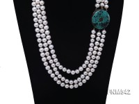 3 strand white round freshwater pearl necklace with turquoise clasp