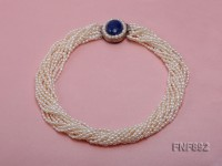 Multi-strand 3-4mm Whiter Freshwater Pearl Necklace with a Lapis Lazuli Clasp