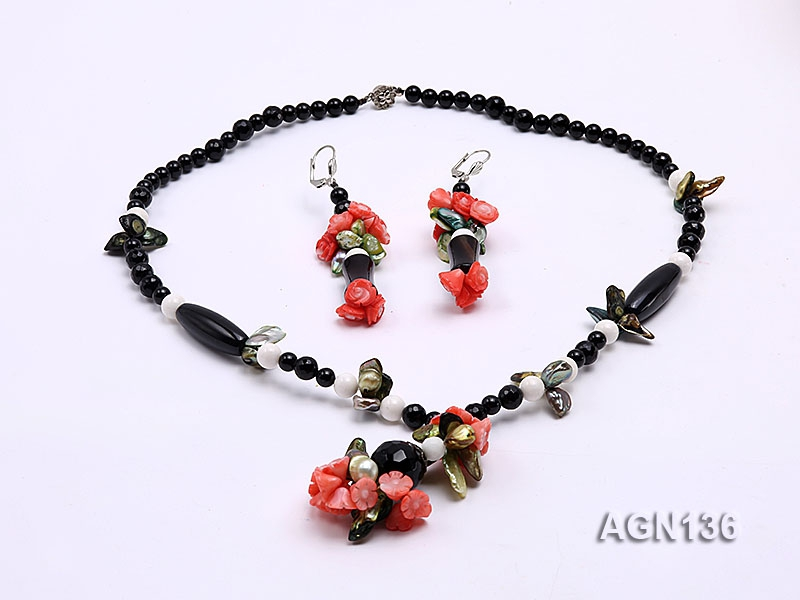 8mm black round faceted and oval Agate pearl and white tridacna red coral Necklace and earring set