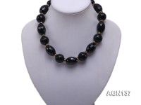 19mm black round faceted and 17.8x25mm oval faceted agate necklace