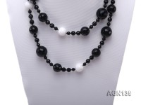 15mm black round faceted agate and white tridacna necklace