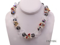 Freshwater Pearl, Coral Beads & Crystal Beads Necklace and Bracelet Set