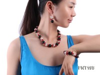 Freshwater Pearl, Coral Beads, Crystal Beads & Agate Beads Necklace, Bracelet and Earrings Set