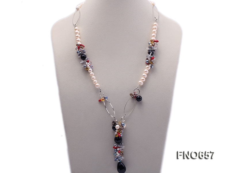 9-10mm white round freshwater pearl with crystal coral and smoky quartz opera necklace