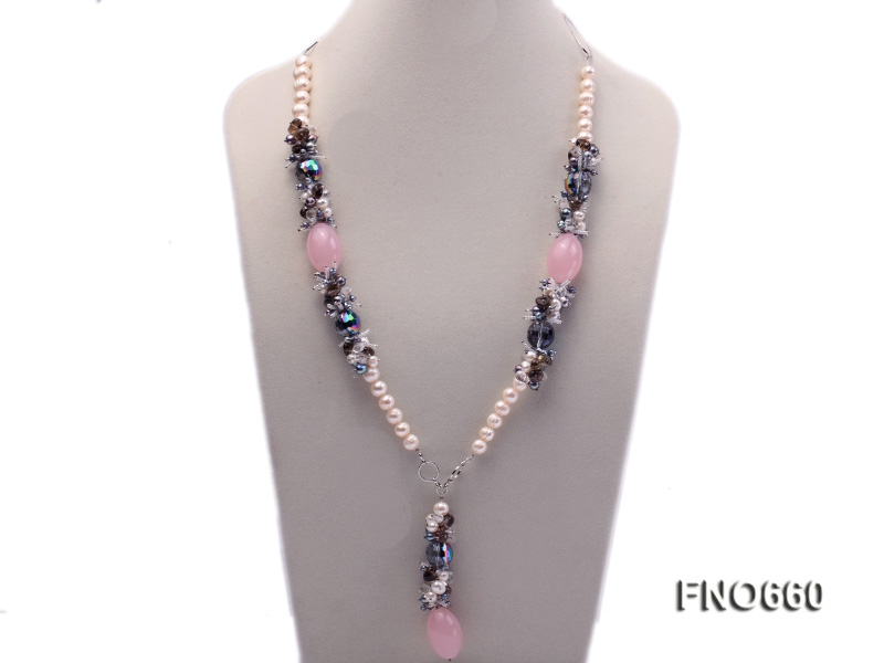 9-10mm natural white round freshwater pearl with smoky quartz and rose quartz necklace