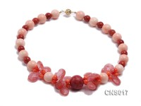 14.4mm Round Pink Sponge Coral and Teardrop-Shaped Crystal Necklace