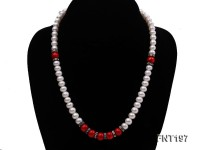 8mm White Freshwater Pearl & Red Coral Beads Necklace and Bracelet Set