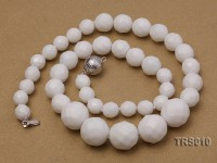 8-15.8mm Round Faceted White China Necklace