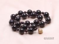 13.5mm and 6.6mm Dark Red Garnet Necklace