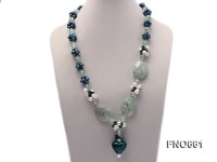 6-7mm green round freshwater pearl with crystal opera necklace