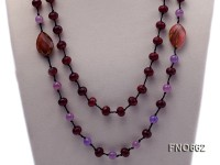 10mm jade and red carved gemstone opera necklace