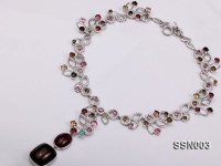 Sterling Silver Necklace Inlaid with Colorful Crystal Beads and Tourmaline Beads