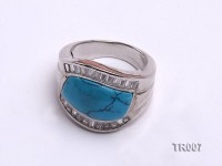 11x18mm blue  irregular turquoise ring  with sterling silver