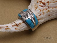 12x5mm blue irregular turquoise ring  with sterling silver setting
