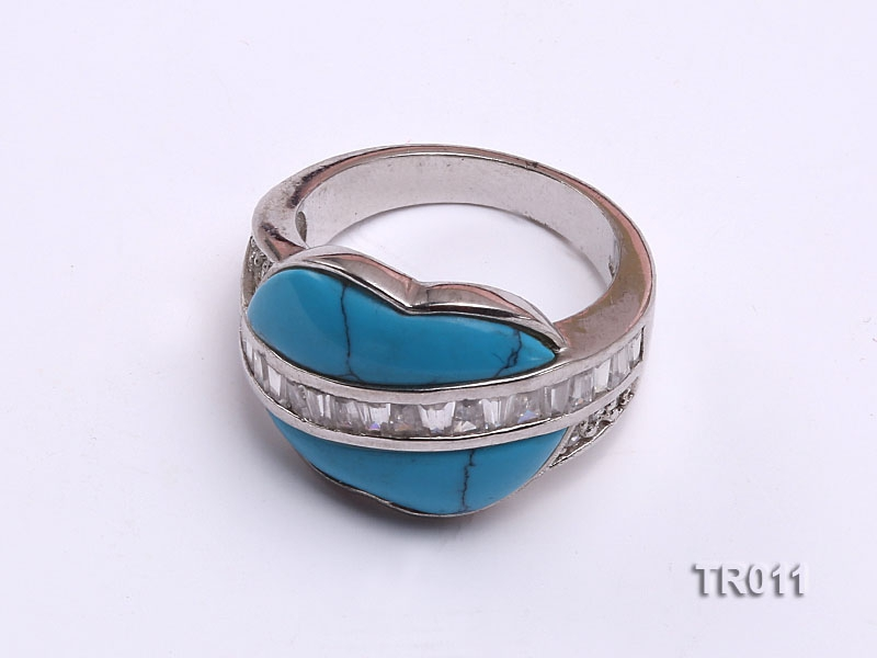 18×5.5mm blue irregular turquoise ring  with sterling silver
