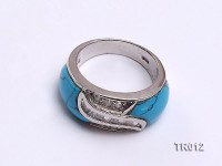 11×15.5mm blue irregular turquoise ring  with sterling silver