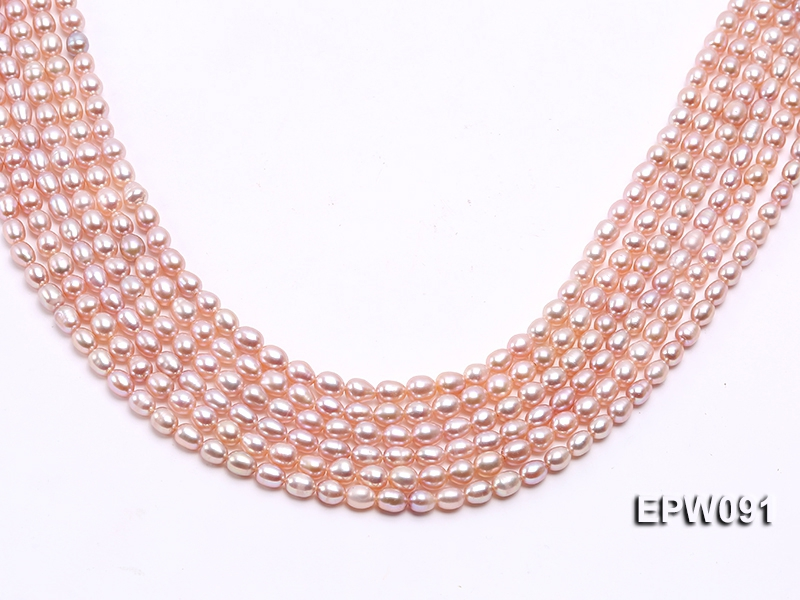 Wholesale AAA-grade 5x6mm Pink Rice-shaped Freshwater Pearl String