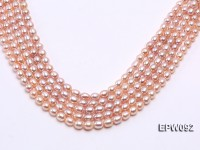 Wholesale AAA-grade 8X10mm Natural Pink Rice-shaped Freshwater Pearl String