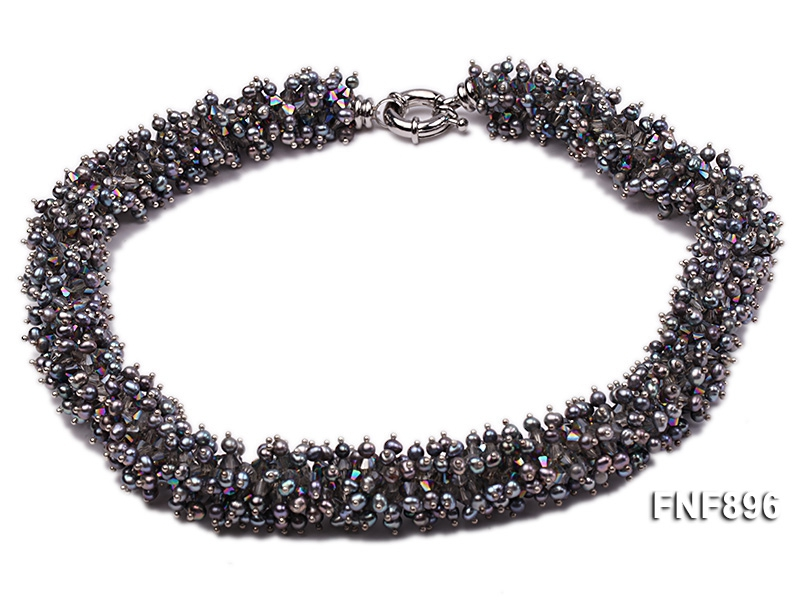 Fashionable Pewter Freshwater Pearl and Rock Crystal Beads Necklace