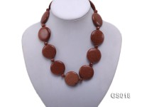 8mm Goldstone Beads and 31mm Goldstone Discs Necklace