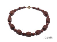 12mm & 8mm Goldstone Beads and 15.6x31mm Irregular Sandstone Necklace