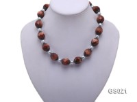 Round Goldstone Beads and Freshwater Pearl Necklace