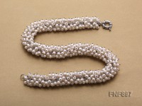 Fashionable White Freshwater Pearl and Rock Crystal Beads Necklace