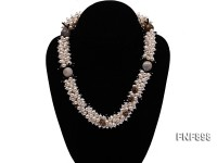 White Freshwater Pearl, Agate beads, Tea-colored Crystal and Black Synthetic Crystal Necklace