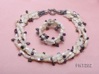 Freshwater Pearl, Seashell Chips & Colorful Crystal Beads Necklace and Bracelet Set