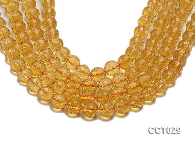 Wholesale 12mm Round Faceted Citrine Beads String