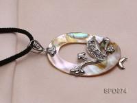 Pretty 52x37mm Oval Abalone Shell Pendant with Rhinestone Beads