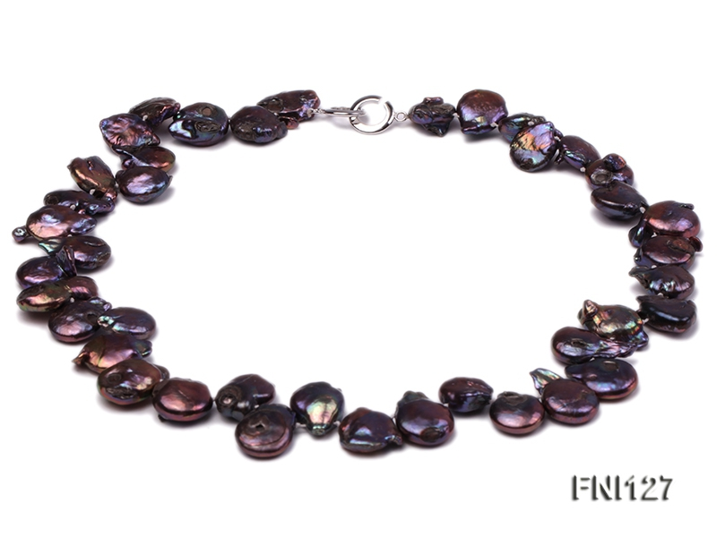 Classic 12x15mm Dark-purple Button Freshwater Pearl Necklace