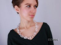 Square & Round Faceted Rock Crystal Necklace
