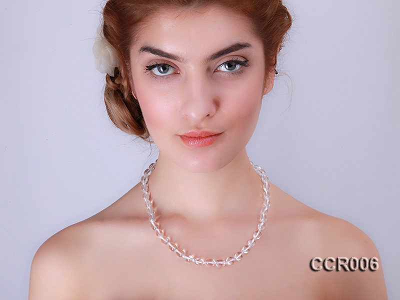 8x10mm Irregular Rock Crystal Necklace