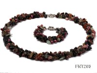 Colorful Tourmaline & Crystal Chips and Freshwater Pearl Necklace and Bracelet Set